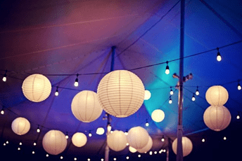 luces vintage con papel chino